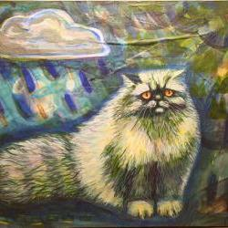 Persian cat original painting blue rain OOAK