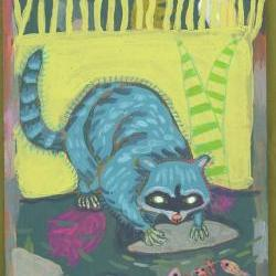 A Raccoons life original acrylic painting on wood